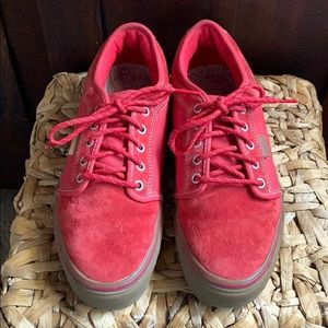 Red men's leather and canvas skateboard vans